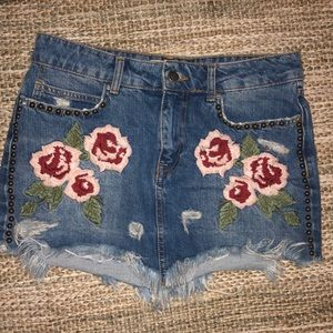 Free people floral embroidered gray mini skirt